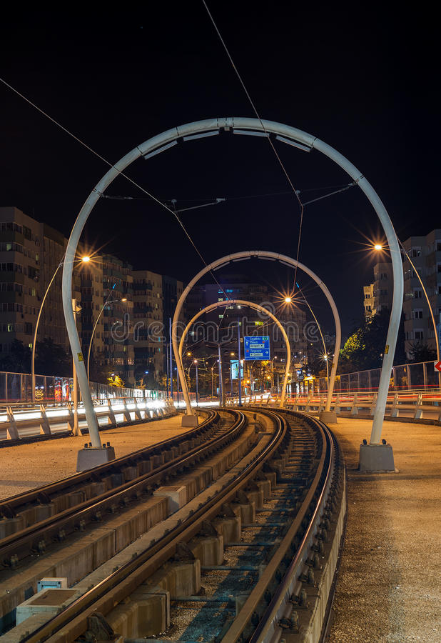 Tram Rail In Bucharest During Night Time Stock Image ...