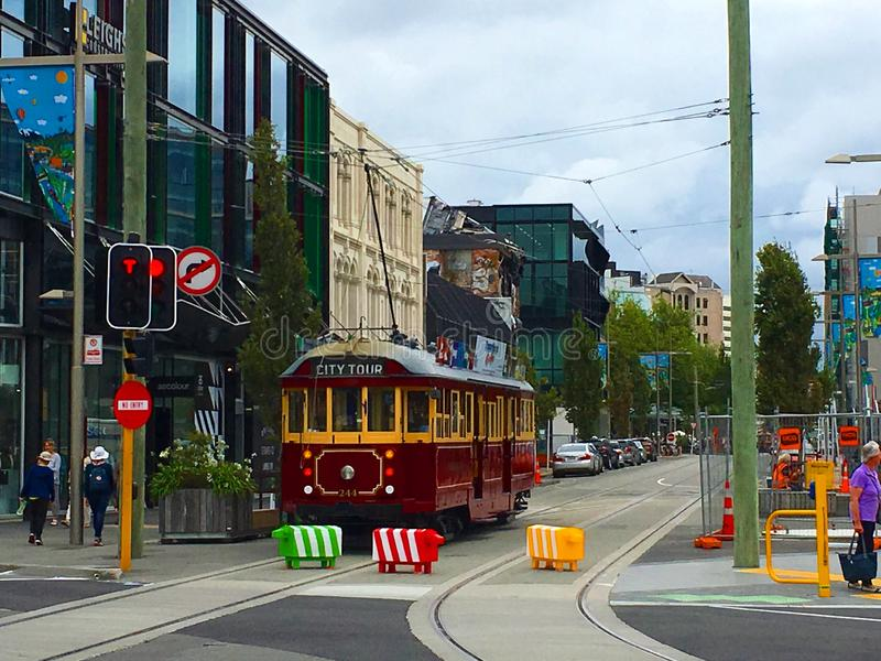Tram Rail ChristChurch Nya Zeeland arkivfoto