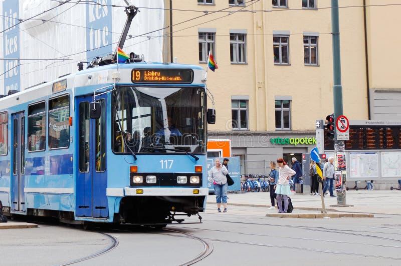 Tram with rainbow flags stock photos