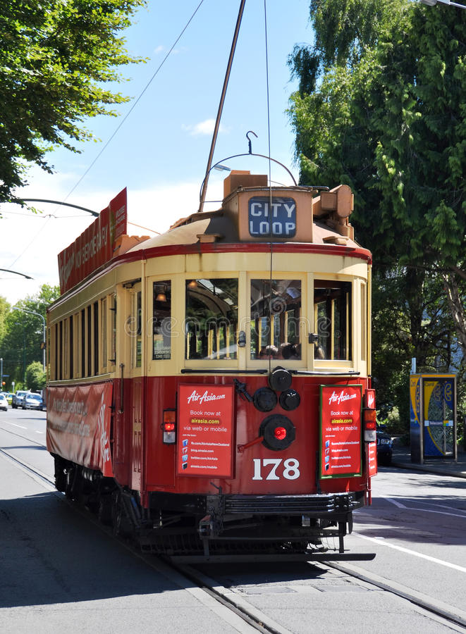 Tram on Rolleston Avenue Christchurch, New Zealand