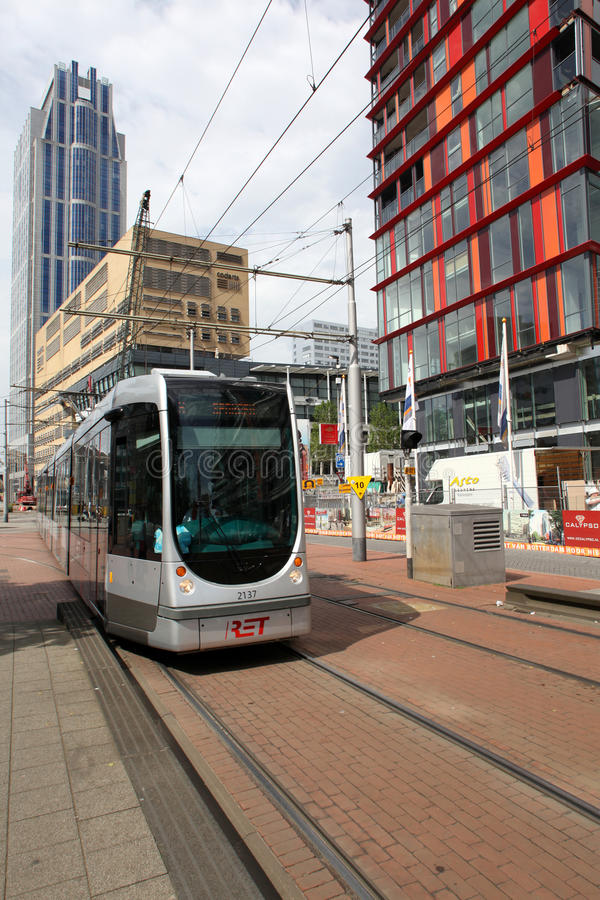 Download Tram in Rotterdam editorial photography. Image of market - 25561777