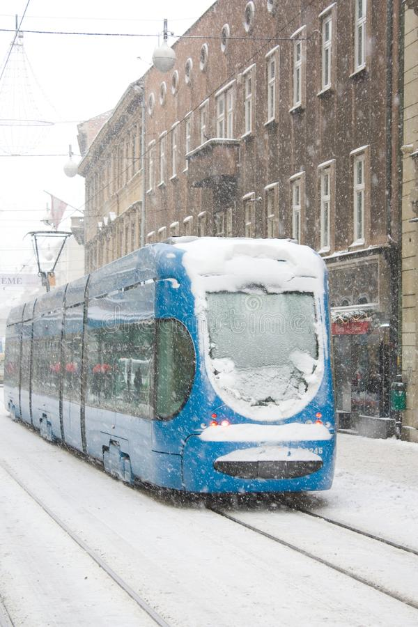 Tram in the snow royalty free stock image
