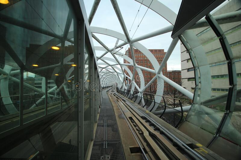 Tram station Beatrixpark in The Hague with the nickname fishnet stockings due to its shape of viaduct stock photo
