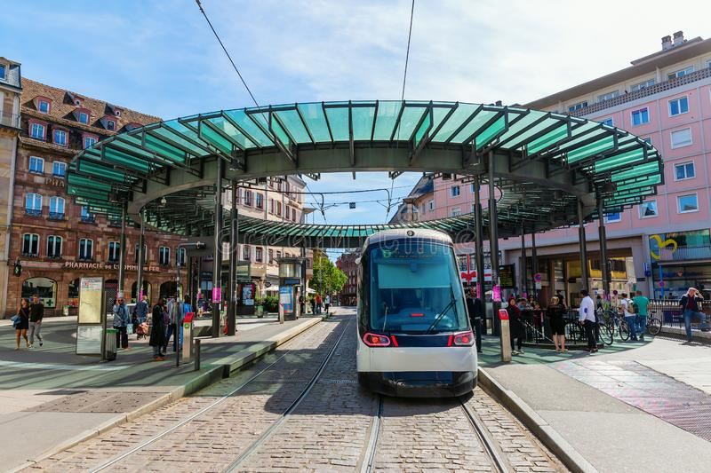 Tram station in the city of Strasbourg, France stock photography