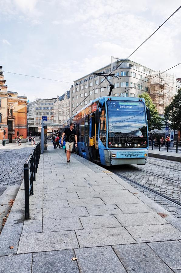 Tram Station near National Theater, Oslo, Norway. royalty free stock images