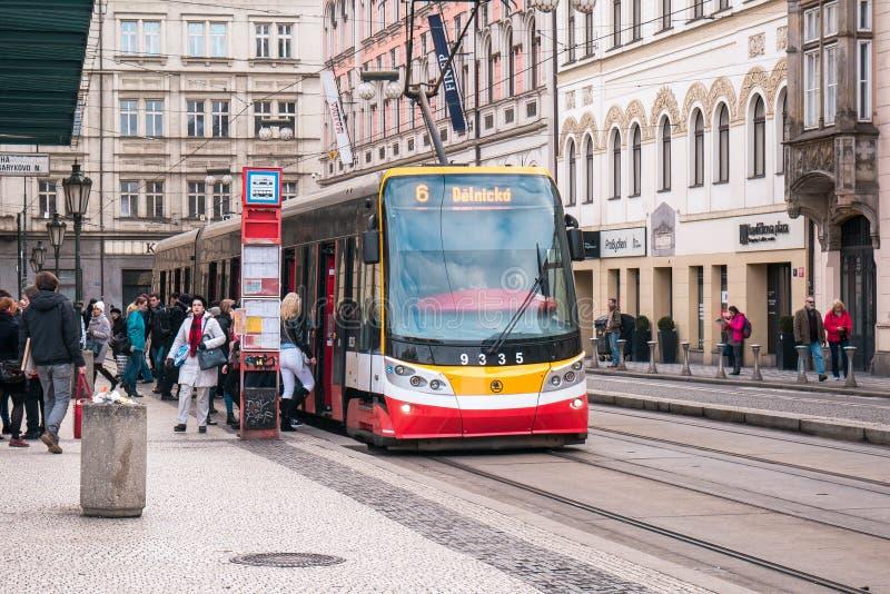 Tram on station, Prague royalty free stock photos