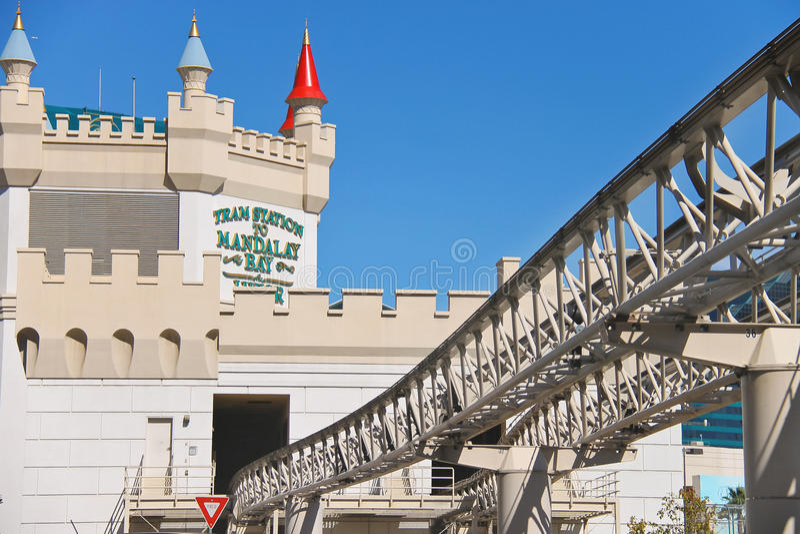 Tram station to Mandalay bay in Las Vegas royalty free stock images