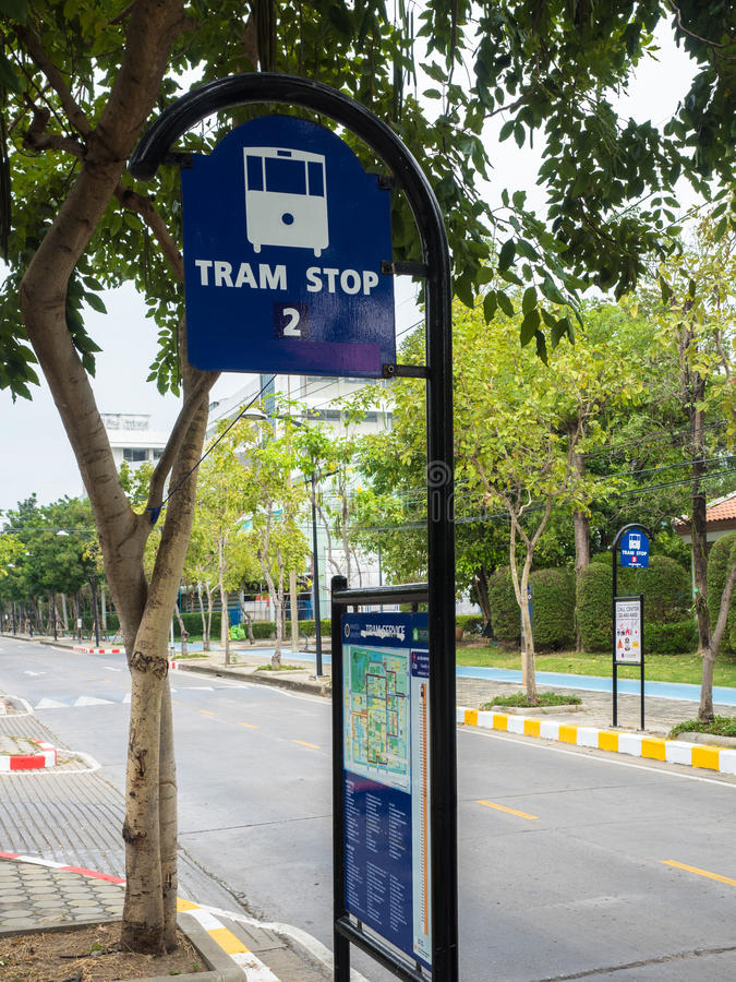 Download Tram Stop stock photo. Image of service, blue, tram, sign - 83707556