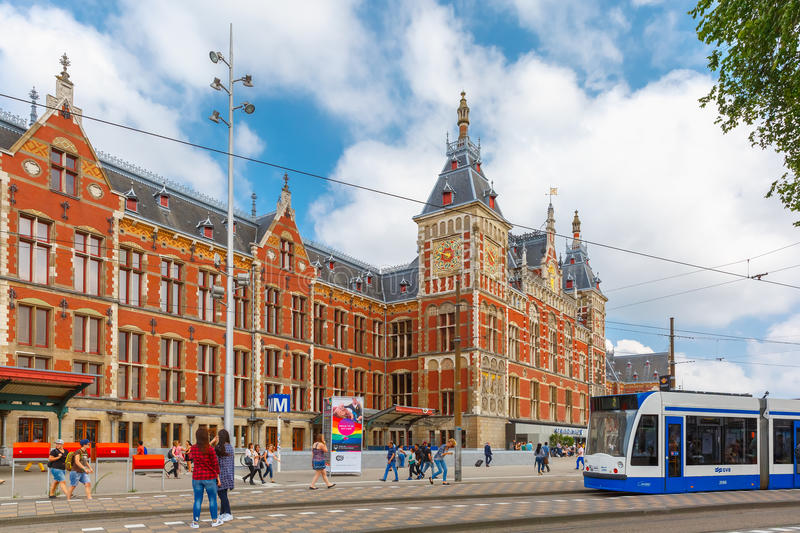 The tram stop near Amsterdam Centraal station royalty free stock photos