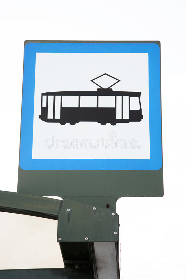 Tram Stop Sign royalty free stock images