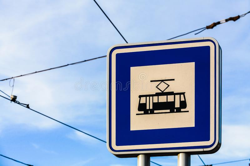 Tram stop sign stock image