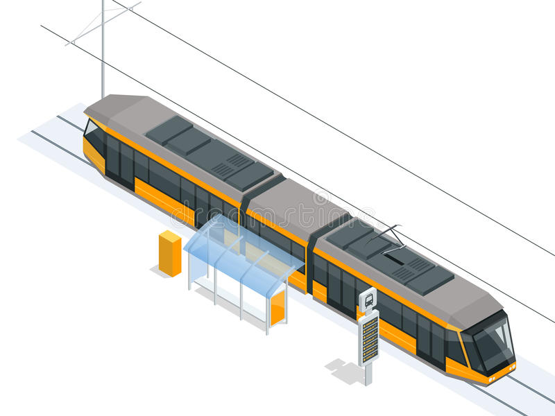 Tram on the stop. Tram stop isometric icon set vector graphic illustration. Vector city Subway train collection vector illustration