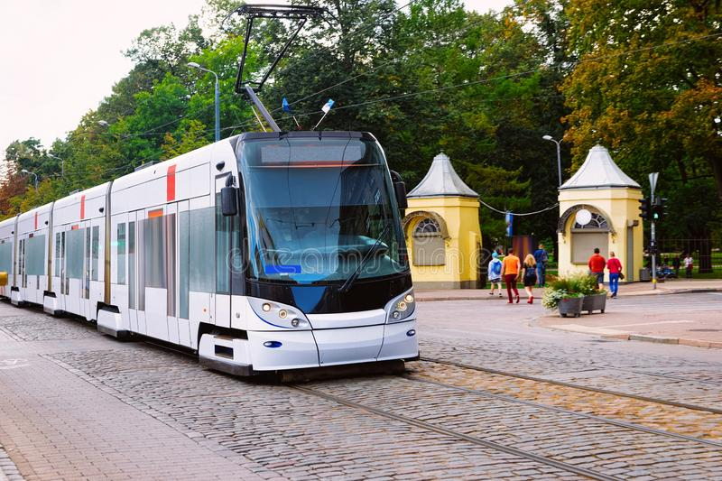 Tram in street in Riga in Latvia stock photo