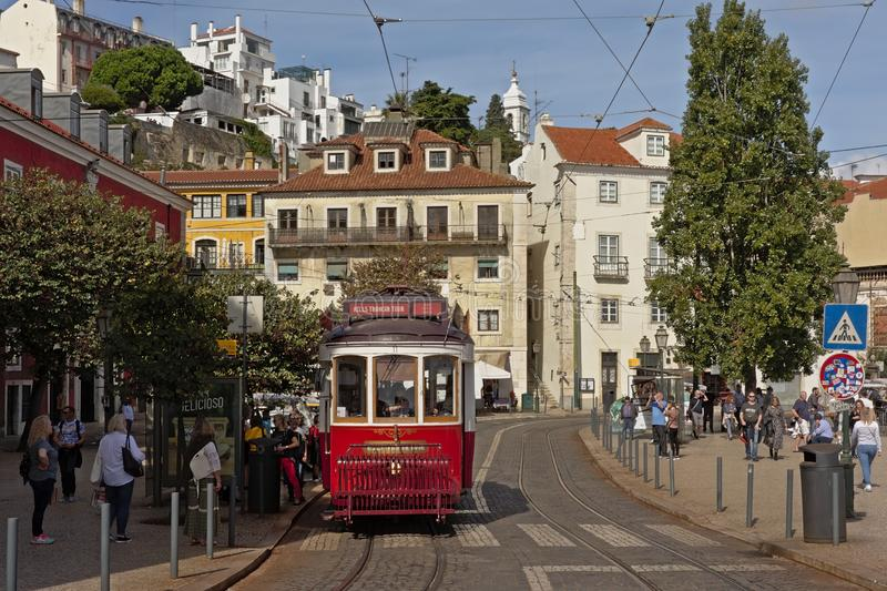 Tram in the streets of Lisbon stock images