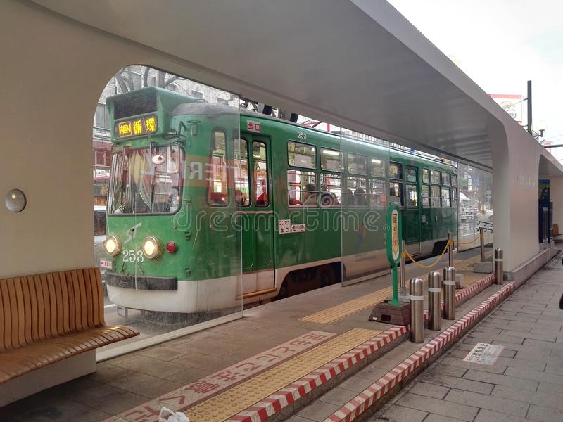 Tram of Supporo city. The big city eith tram in Supporo Hokkaido stock images