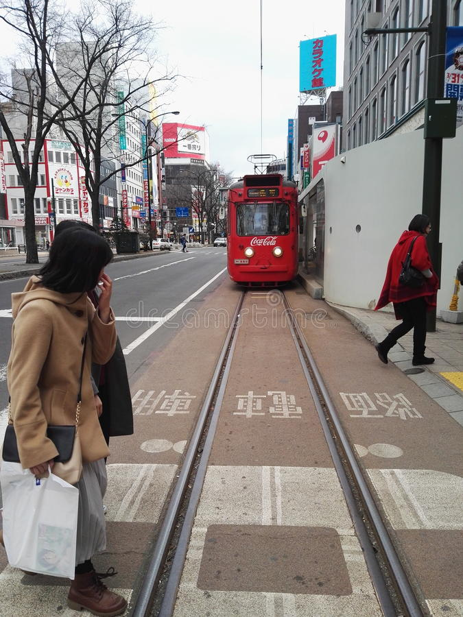 Tram of Supporo city stock photography