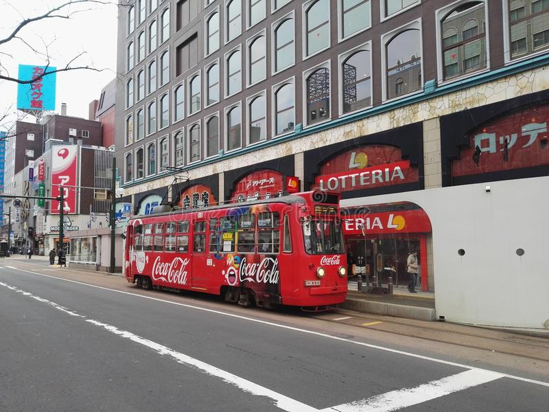 Tram of Supporo city. The big city eith tram in Supporo Hokkaido royalty free stock photos