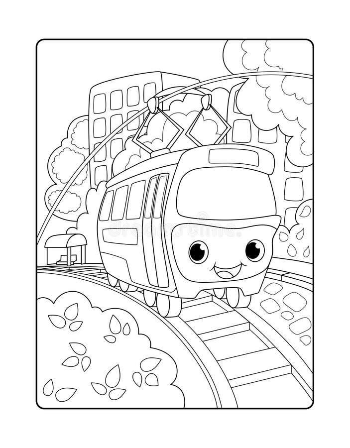 Tram sveglio nel paesaggio urbano Pagina di coloritura di vettore verticale urbano del paesaggio per i bambini Vagone sorridente  illustrazione di stock