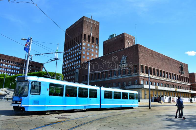 Tram and town hall in Oslo, Norway. stock photography