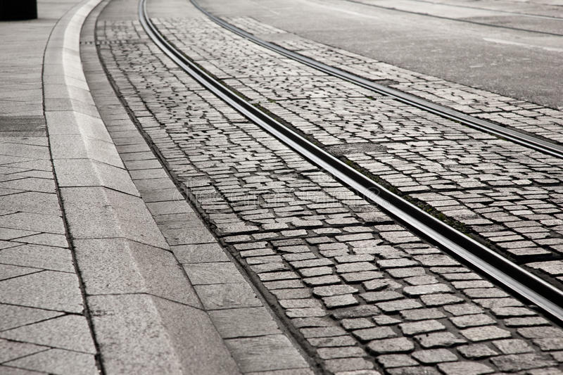 Tram Track Curve Stock Photography