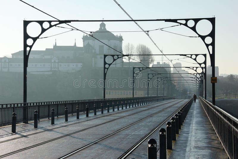 Tram tracks on Dom Luis I Bridge. Porto. Portugal stock images