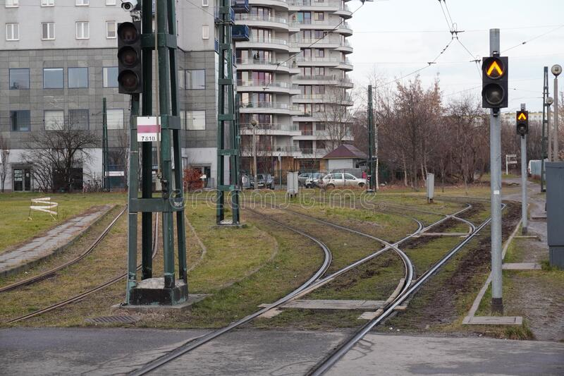 Tram tracks at the final stop, arrow forks of the tracks. Infrastructure for urban public transport. Platforms for trams. Eco-. Friendly urban public transport stock photos