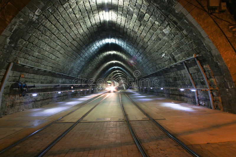 Tram In Tunnel Stock Image