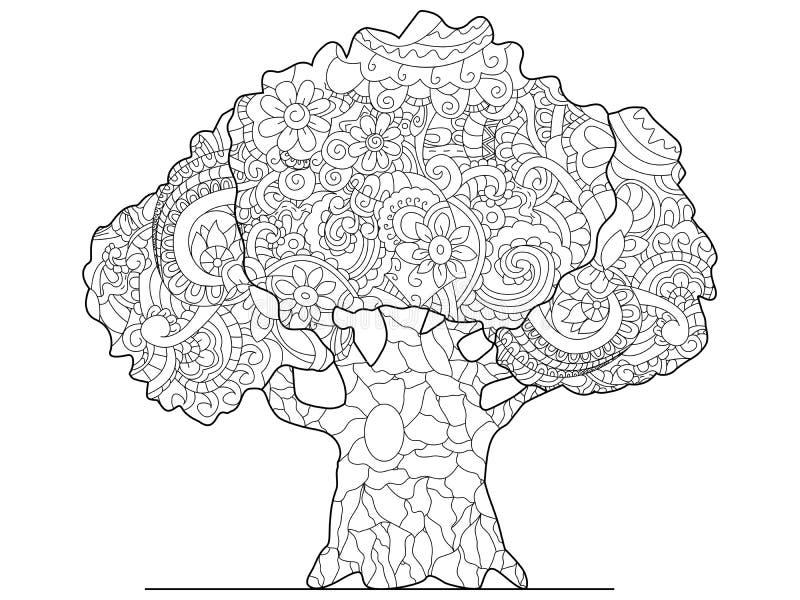 Trama del colorante del árbol para los adultos stock de ilustración