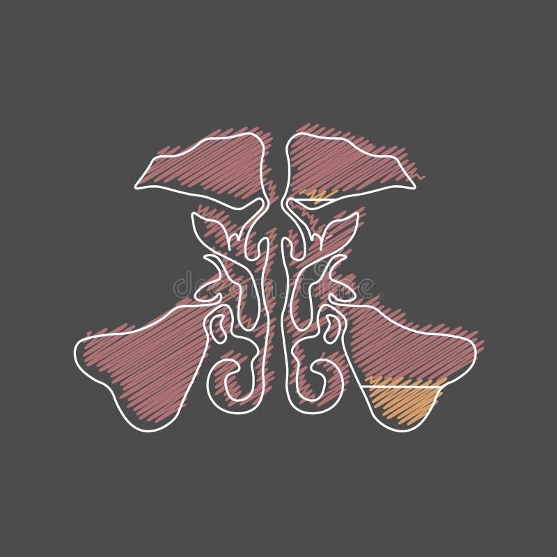 Trama estilizada de la sinusitis de los sinos maxilares la infección del sino es inflamación de los sinos rhinosinusitis ilustración del vector