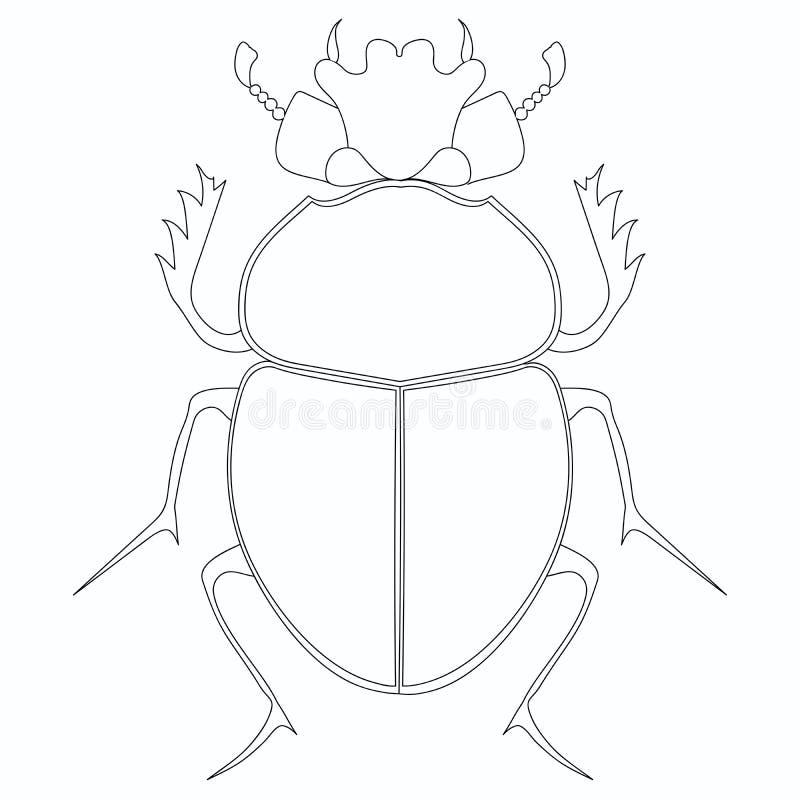 Trama que colorea Escarabajo egipcio del escarabajo Insecto grande ilustración del vector