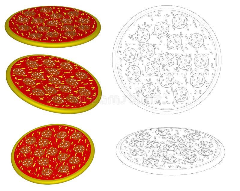 Trama: salami de la pizza ilustración del vector