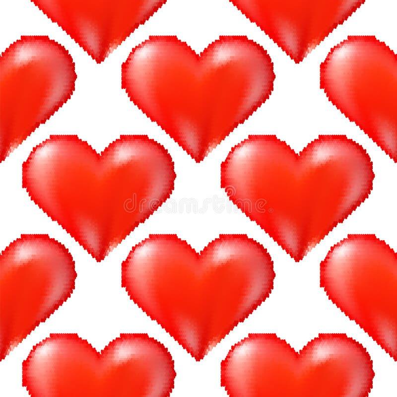 Trama sin brillo del corazón rojo de semitono en fondo blanco ilustración del vector