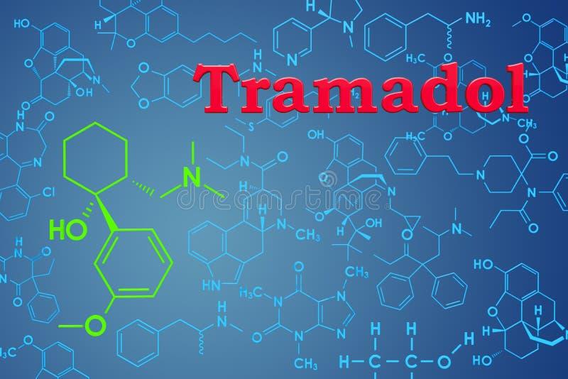 Tramadol Chemiczna formuła, cząsteczkowa struktura świadczenia 3 d ilustracja wektor