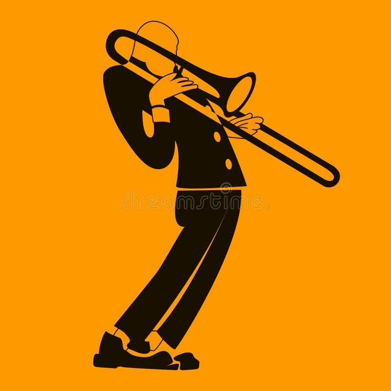 Trambonist музыканта вектора, джазовая музыка, человек играя трубу иллюстрация штока