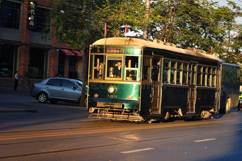tramcar улицы dalian города фарфора дела стоковые изображения