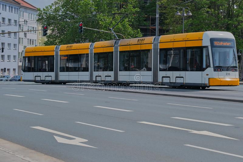 Tramcar in Mainz, Germany. Mainz, Germany on May, 24 - 2019: A tramcar line 59 in Mainz is driving on Binger Strasse. Tram of the MVG, the traffic operator for stock image