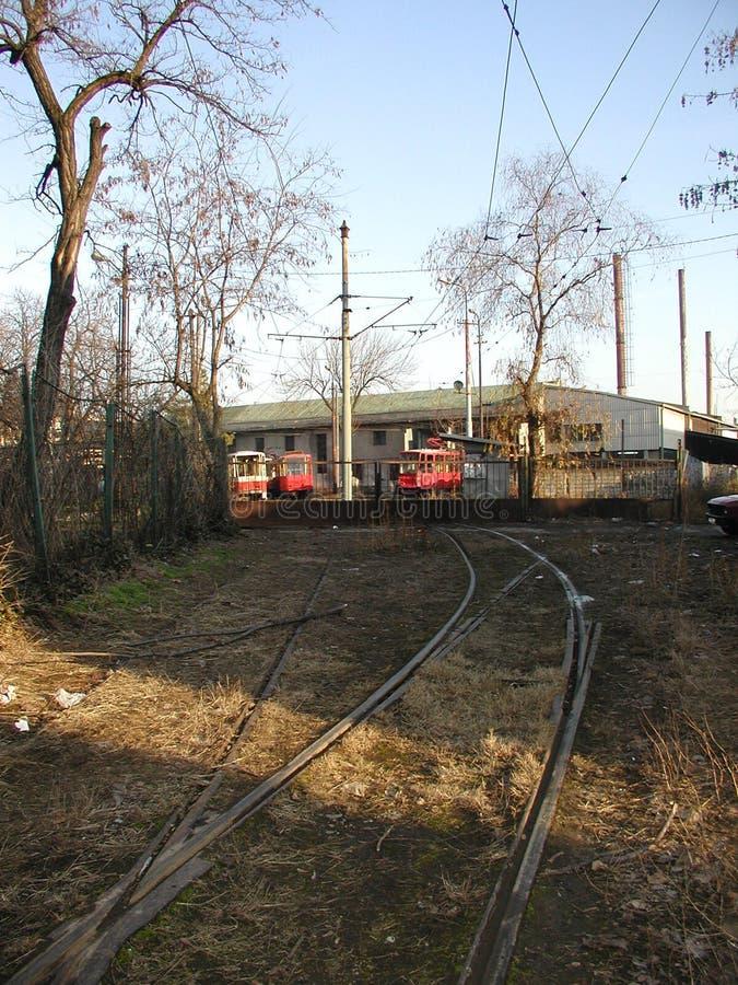 Tramdepot in Dorcol, Belgrad stockfotos