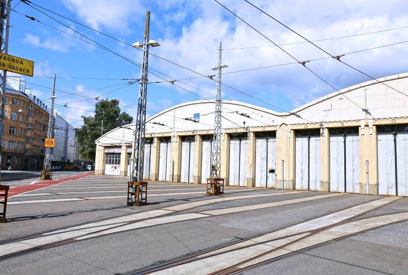 Tramdepot in Helsinki stock foto