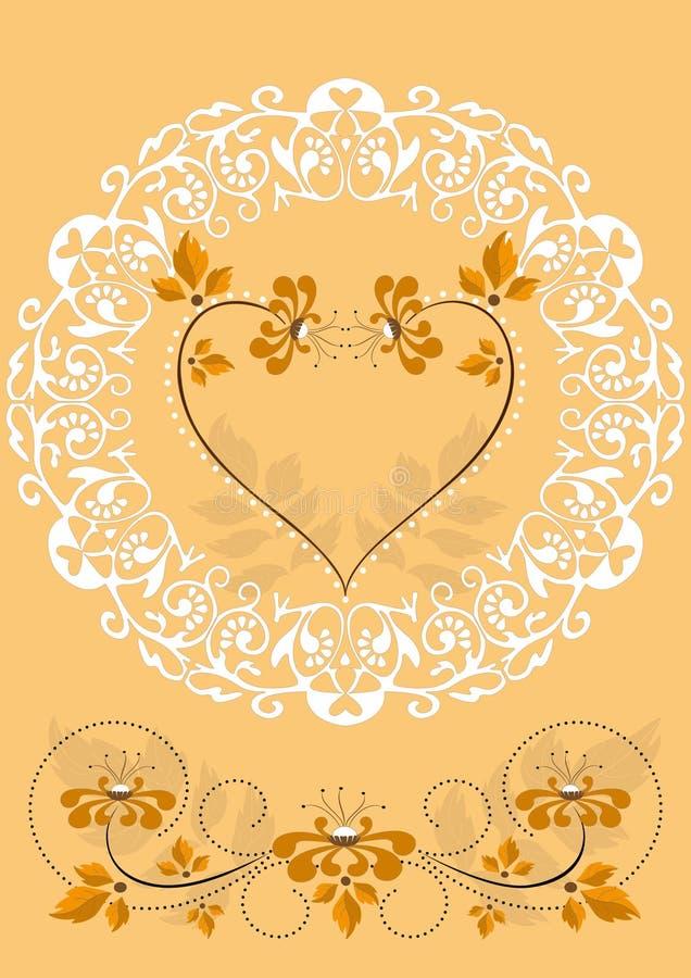 Trame à jour avec les fleurs et les coeurs oranges illustration libre de droits