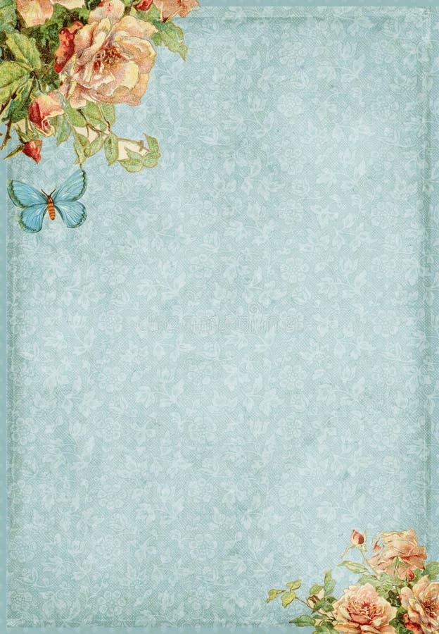 Trame élégante minable douce avec les fleurs et le guindineau illustration libre de droits