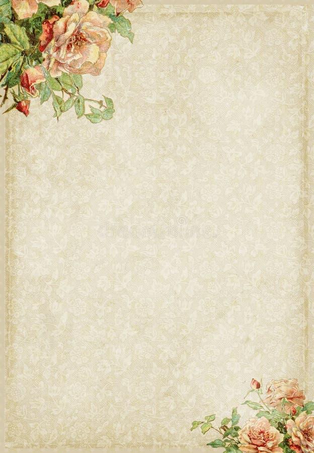 Trame élégante minable douce avec les fleurs roses illustration stock