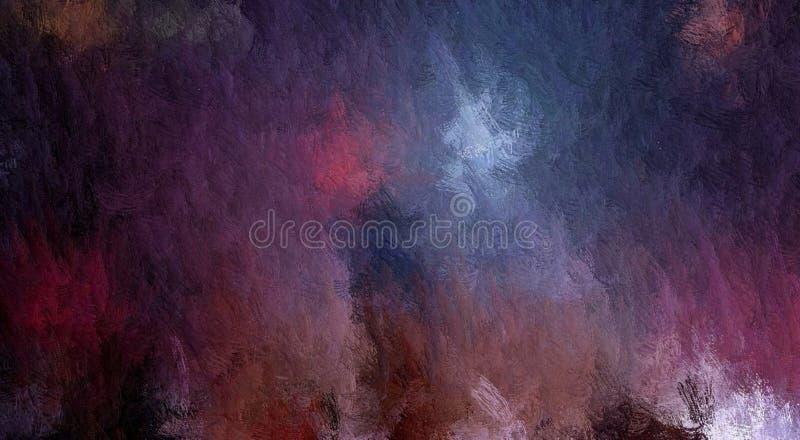 Trame abstraite, fond grunge décoratif, avec les calomnies chaotiques et les baisses troubles de la peinture sur la toile texturi illustration stock