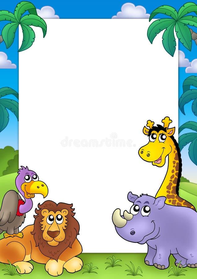 Trame africaine avec les animaux 3 illustration stock