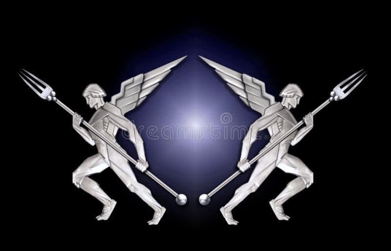 Trame argentée de l'ange w/fork d'art déco illustration de vecteur