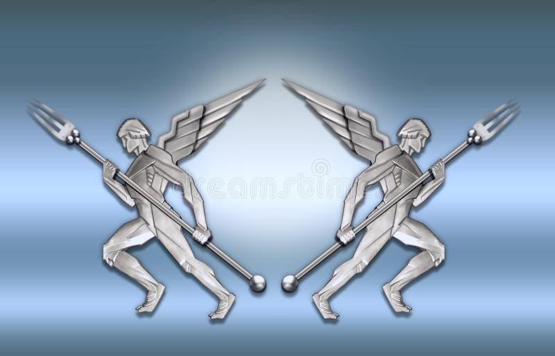 Trame argentée de l'ange w/fork d'art déco illustration libre de droits