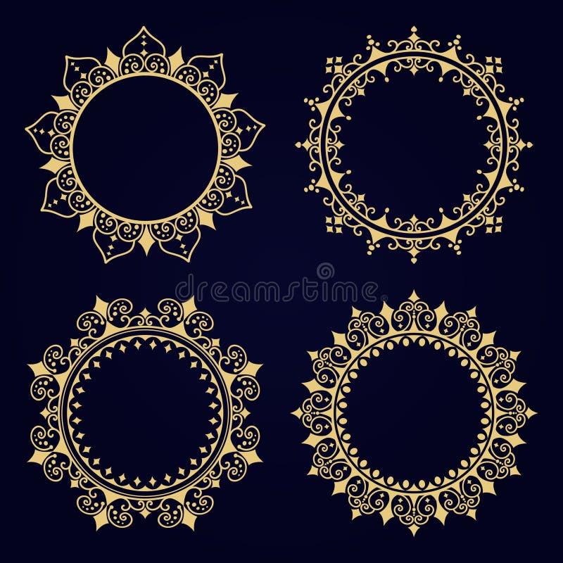 Trame décorative d'or Calibres de logo de vecteur Le monogramme passé, initiales, bijoux Ensemble de frontière illustration stock