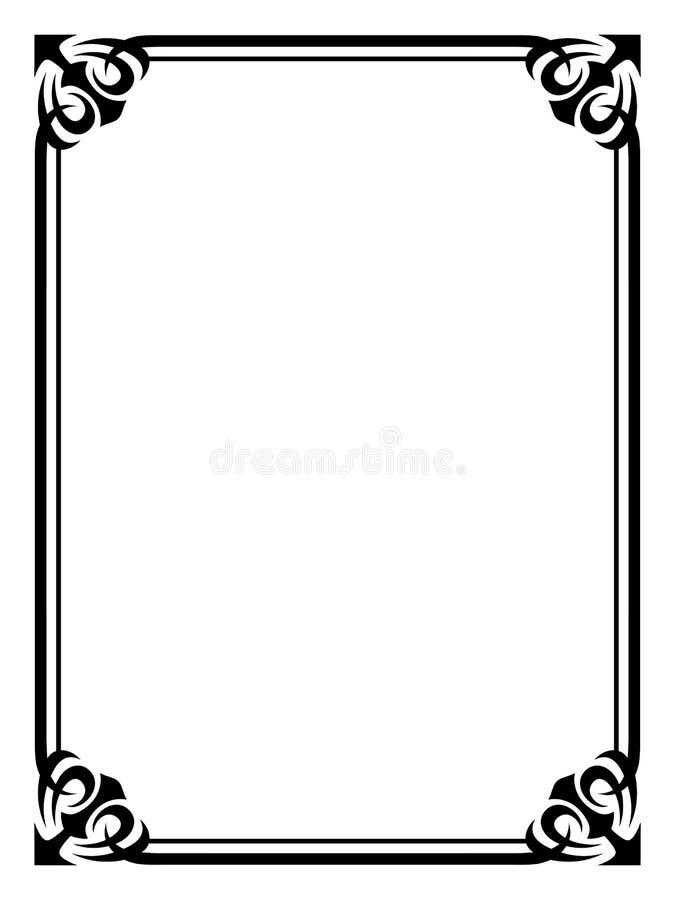 Trame décorative ornementale noire simple illustration stock
