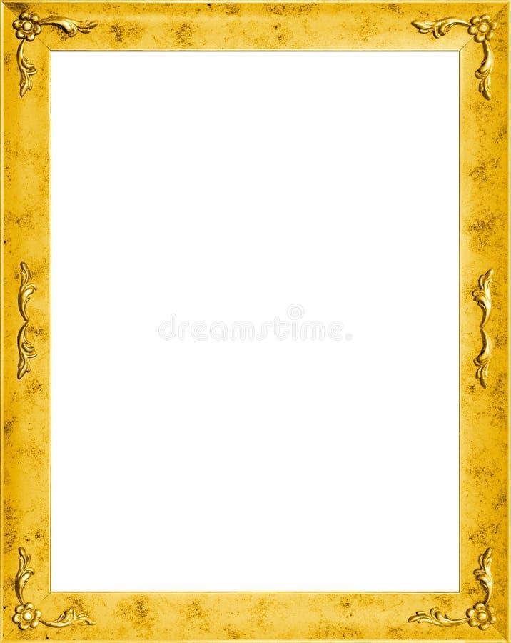 Trame d'or élégante avec des fleurs illustration stock