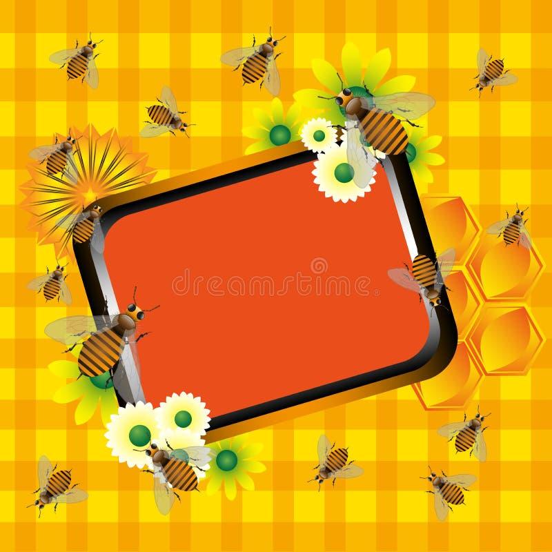 Trame d'été avec des abeilles illustration stock
