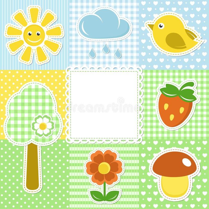 Trame d'été avec le soleil et l'oiseau de fraise de fleur illustration stock